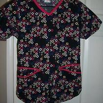 Dickies Black W/ Red White Blue and Yellow Accents Size Xs Uniform Scrub Top Photo