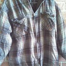 Dickies Brown Grunge Plaid Flannel Hoodie Size M Photo