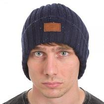 Dickies Flecked Yarn Navy Wfaux Leather Patch Knit Beanie Hat Travel Winter Photo