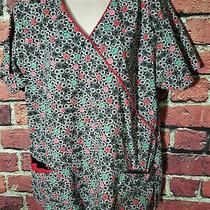Dickies Floral Print Mock Wrap Tie Back Scrub Top Shirt Womans Size Xl Photo