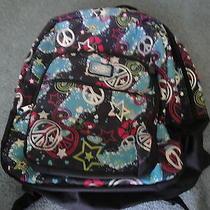 Dickies Girls Backpack School Bag Peace Sign Love Hearts & Stars Large Euc Photo