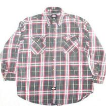 Dickies Long Sleeve Red/blue/white/gray Plaid Button Down Cotton Shirt Men's Xl Photo