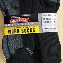 Dickies Men's - 5 Pair Dri-Tech Crew Work Socks  Black Shoe Size 6-12 Photo