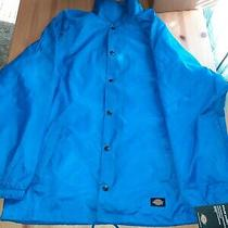 Dickies Men's Medium Snapped Front Lined Windbreaker Blue Nylon Jacket  Photo
