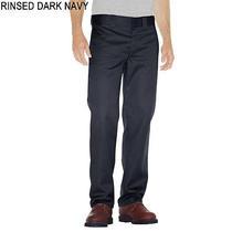 Dickies Men Work Pants Slim Straight Flat Front 44 X 32 Rinsed Dark Navy New  Photo