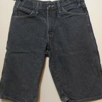 Dickies Mens Denim Shorts 32 Flat Front Carpenter Soft Black Faded Distressed  Photo