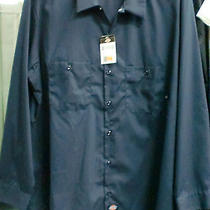 Dickies Mens Long Sleeve Industrial Ll535  Work Shirt Size  2xl   Color Navy Photo