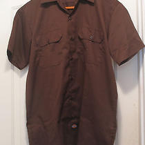 Dickies Mens Sz M Brown Workwear S/sleeve Shirt Poly/cotton Button-Front Nwot Photo