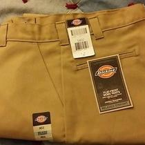 Dickies New Flat Front Work Pants Relaxed Straight With Cell Phone Pocket 34x32 Photo