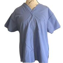 Dickies Scrub Size Small Top Light Blue Medical Nurse Cotton Health Care Unisex Photo