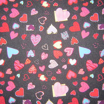 Dickies Scrub Top Black With Multi Color Hearts  - Medium - Free Shipping Photo