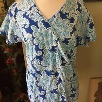 Dickies Scrub Top Large Blue Floral Photo