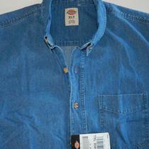 Dickies  Tall Men's   Blue Denim  Short Sleeve  Work Shirt  Size Xlt  Nwt Photo