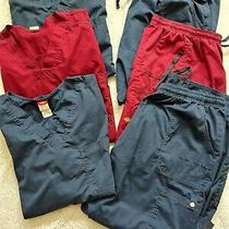 Dickies Unisex Size 4x Blue Red 2 Piece Scrub Set Vguc Scrubs Pants Top 3 Pairs Photo