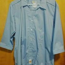 Dickies Womens Blue Long Sleeve Button Down Blouse 3/4 Sleeve Size M 10/12 Photo