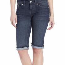 Dickies Womens Denim Bermuda Shorts Blue Size 14 Slim Fit Rolled Cuff 50 097 Photo