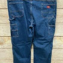 Dickies Workwear Carpenter Jeans Mens Size 48x32 Blue Double Knee Workhouse New  Photo