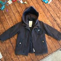 Diesel 2t Navy Blue Peacoat/jacket W/ Detachable Hood Wool Photo