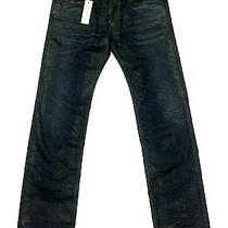 Diesel 3232 (34) Safado Slim Straight Blue Green Dna Mutation Distressed Jeans Photo