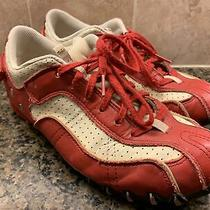 Diesel Apolloleather Suede Sneakers Red on Cream Womens Shoe Size 6 /eur 36.5 Photo
