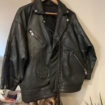 Diesel Black 'D-Jinnius-Ne' Oversized Leather Look Jacket Size Xs Photo