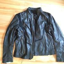 Diesel Black Gold Black Leather and Suede Jacket Photo