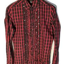Diesel Black Gold Mens Collared Western Shirt With Removable Ruffles Photo