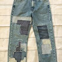 Diesel Black Gold Womens Relaxed Boyfriend Fit Crop Blue Jeans Patched Size 29 Photo