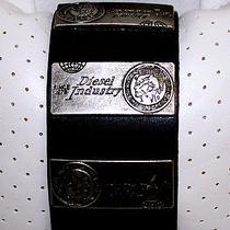 -Diesel- Black Leather Bracelet 100% Genuine New Special Edition Photo