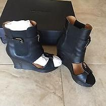 Diesel Black Leather Gladiator Platform Open Toe Ankle Wedges Heels 7.5 38 Photo