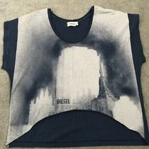 Diesel Blue Oversized Printed Design Cropped T-Shirt Size Small but Larger Photo