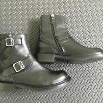 Diesel Boots 41 8 8 1/2 Black Leather Engineer Style Photo