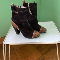 Diesel Boots Dark Brown Suede and Camel Color Leather Women's Sz 7 Photo