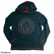 Diesel Boys Hoodie Jacket Black Only the Brave Applique Red Detail Size L 14-16 Photo