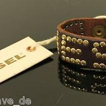 Diesel Bracelet Smirto Bracelet Plain Brown Gold Leather Studs New Photo