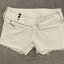 Diesel Cherock White Frayed Stretch Shorts Size 29 Waist Photo