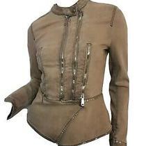 Diesel Designer Women Cotton Coat Jacket Beige Zip Stylish Denim Size S Photo