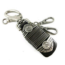Diesel Genuine Leather and Metal Key Chain Fob Ring - New Photo