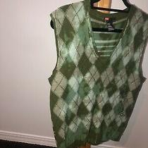 Diesel Grey Green Lightweight Diamond Argyle Knit Sweater Vest W/ Logo Large Photo