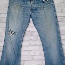 Diesel Industry Mens Size 33 Denim Distressed Zaf Bootcut Blue Jeans 3407. Photo