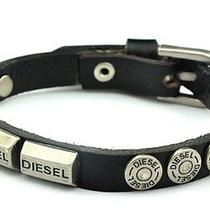 Diesel Jeans Black Silver Leather Cuff Bracelet Watch Band Necklace Mens Womens Photo