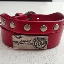 Diesel Jeans Red Leather Cuff Bracelet Watch Band Necklace Mens Womens Wallet Photo