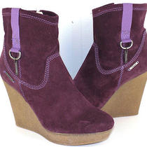 Diesel Jessy Plum Treated Suede Crepe Wedge Boot Women's 38 Us Size 7 / 7.5m Photo
