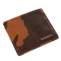 Diesel Johnas I Leather Wallet Card Holder Case Camouflage Pattern Metal Logo Photo