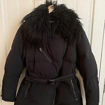 Diesel Ladies Black Feather & Down Coat Detachable Faux Fur Collar Size S Photo