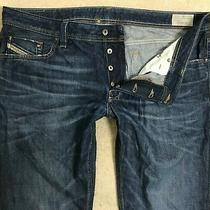 Diesel Larkee Denim Jeans Mens W40 L32 Dark Blue Regular Straight Fit Photo