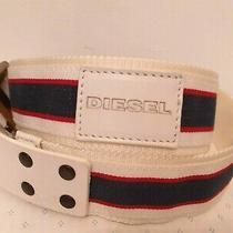 Diesel Leather and Web Belt Red White Blue Brass Buckle Made in Italy Size Xl Photo