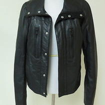 Diesel Leather Funnel-Neck Jacket Black Size Small Gently Worn Photo