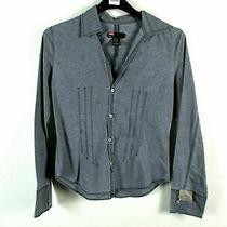 Diesel Long Sleeve Button Up Gray Collared Jean Denim Shirt Medium Women's Photo