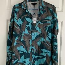 Diesel Men's Large Ls Button Front Casual Dress Blue Floral S Dorado Shirt New Photo